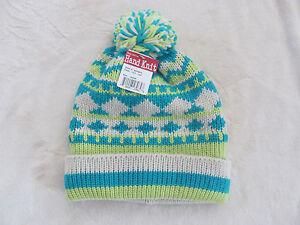Turtle Fur Hand Knit Beanie Ski Hat-Pom Pom-Ivory/Teal/Green-Adult One Size-NWT