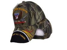 God Guns and Guts Lets Keep All Three Made America Camo Black Bill Ball Cap Hat