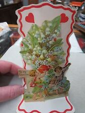 Old Valentine Angels With Flowers Children Card Stand Up Fold Out Victorian