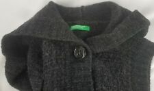 Vintage United Colors Of Benetton Womens Gray Wool Sweater Vest Hooded Size XS/S