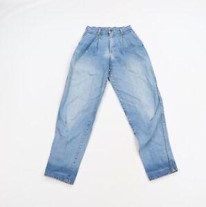Vintage 80s Streetwear Womens Size 25 Pleated Straight Leg Thrashed Denim Jeans