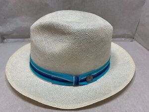 """NEW STETSON """"OCEAN AVE""""  SISOL STRAW  MENS HAT NATURAL / BLUE MADE IN U.S.A"""