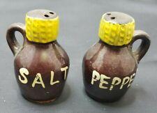 Antique Jug Salt and Pepper Shakers Mid Century Booze Keg Crock Farm Country