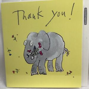 Lovely Quentin Blake Thank You Card with Elephant and Flowers