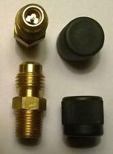 "10 Brass 1/8"" NPT x 1/4"" SAE male FITTINGS w/ Shrader valve & CAP fuel a/c air"