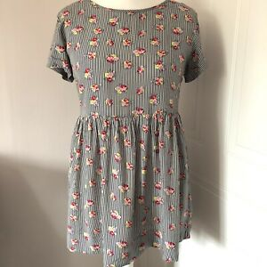 Boohoo Long Tunic Blouse Size 8 Oversized Relaxed Multi Striped Floral Print
