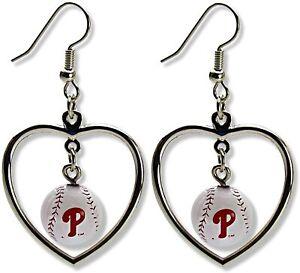 Philadelphia Phillies Heart Baseball Charm Dangle Earrings Official MLB Phanatic