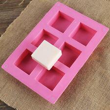 Neu 6 Hohlraum  Square Kuchen  Silikon Seifen Form DIY