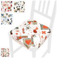 Cuscino coprisedia CUORI universale casa cucina copri sedie cotone alette lacci
