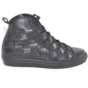 Sneakers alta uomo pelle nero moda glamour intreccio a mano fondo antiscivolo to
