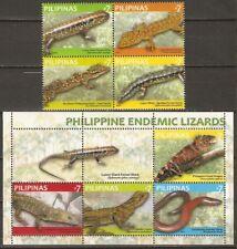 Philippines 2011 Philippinen reptiles lizards 4+1 MNH**
