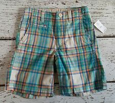 GAP KIDS Boys Orange Blue Plaid Shorts 6 NEW NWT