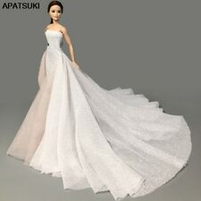 White High Fashion Wedding Evening Party Gown Dress for 1/6 Barbie Doll Toys