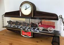 Vintage Budweiser World's Champion Clydesdale Horse and Wagon 2 Sided Bar Clock