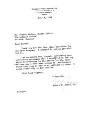 Bobby Jones Certified Authentic Autographed Signed 1969 Letter PSA/DNA #Z05273