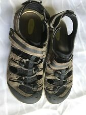 CLARKS WAVE WALK Mens Leather Suede GREY MESH TOGGLE SPORT SANDALS Sz 9 M