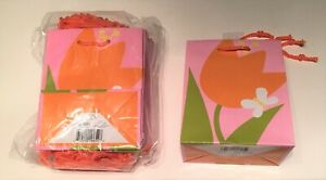 Pkg - 16 HALLMARK Tulip Butterfly Gift Bags Spring Easter Bridal Mothers May Day