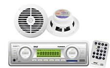200W White Marine Boat yacht Indash USB MP3 SD Radio Receiver 2 New Speakers Pkg