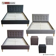 Lit en Tissu Lit Double King tapisse Design Sommier inclus 140 160 180