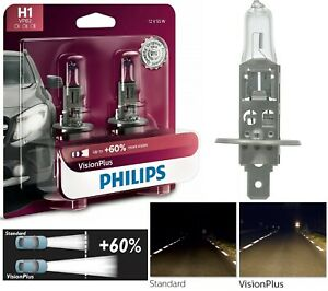 Philips VIsion Plus 60% H1 55W Two Bulbs Fog Light Replacement Plug Play Upgrade