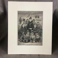 1890 Antik Aufdruck Inuit Eskimo Indigenous Grönländisch Leute Ethnisch Tribe