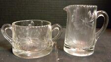 Vintage Etched Butterfly & Ivy Glass Creamer & Sugar Bowl Sunburst Bot Excellent