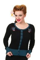 Teal Swallows Birds Rockabilly Retro Vintage Twisted Cardigan By Banned Apparel