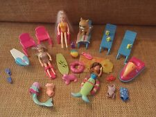Polly Pocket Beach Pool Party Swimming Lot Dolls Swimsuits Color Changing P69