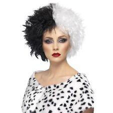 EVIL Madame Cruella Peluca blanco y Negro Disfraz Mujer Accesorio NUEVO