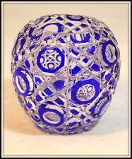"""Splendid Cobalt Cut to Clear Czechoslovakian Crystal Vase""  Octagonal Pattern"