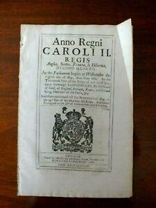 Original Act of Parliament - Charles 11 1662 - Regulation Making Stuffs Norfolk