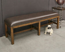 Oak & Hardwood Six Leg Upholstered Bench Seat /Ottoman /Dining /End of Bed Seat