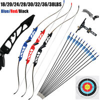 Archery Takedown Recurve Bow 68in 18-38lbs Right Hand 12 Fiberglass Arrows