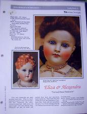"Seeley's Dollmaker'S Worksheet - Eliza & Alexandra ""Turned-Head Kestners"""