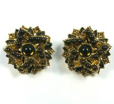 Vintage Earrings Clip On Faux Amber Cabochon Starburst Cluster Tone Rhinestone
