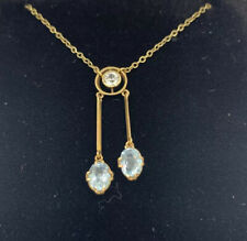 "9ct Gold Aquamarine Art Deco Design Pendant Drop Necklace With White Stone 18"""