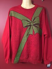AMERICAN RAG Men's Graphic Fleece Red Present Sweater - Size Large - NWT