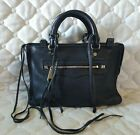 Rebecca Minkoff Micro Regan Satchel Black Pebbled Leather Handbag $225 Mini Size