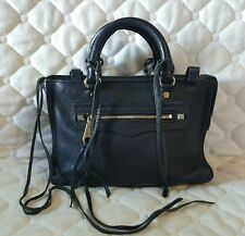 Rebecca Minkoff Micro Regan Satchel Black Pebbled Leather Handbag $225 Mini Size
