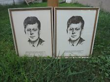 VINTAGE JOHN F. KENNEDY PORTRAIT HAND PRINT BY A. GRUERIO AUG. 63' FRAMED