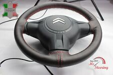 FOR FORD ANGLIA 15'' - BROWN LEATHER STEERING WHEEL COVER, RED 2 STIT