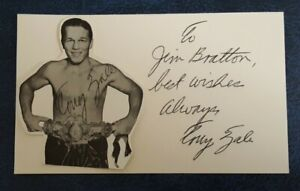Tony Zale Autographed Auto Index Card Middleweight Champ w/ Photo Signed