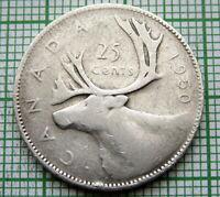 CANADA GEORGE VI 1950 25 CENTS, CARIBOU, SILVER