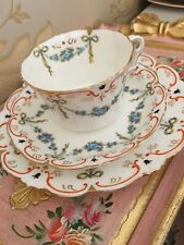 Collingwoods antique Bone china bows ribbons swags trio teaset teacup York