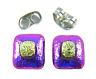 "DICHROIC Post EARRINGS 1/4"" 7mm Magenta Purple Yellow Crinkle Tiny GLASS STUD"