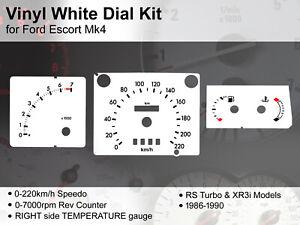 Ford Escort Mk4 (1986 - 1990) - 220kmh RS Turbo / XR3i RT - Vinyl White Dial Kit