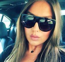 DE Vintage Shadow Designer Flat Top Aviator Oversized Women BIG Sunglasses BLACK