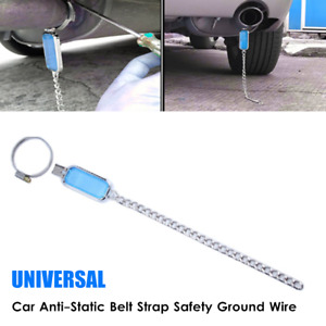 1×Car Anti-Static Belt Strap Safety Ground Wire Reflector Earth Belt Silver Tone