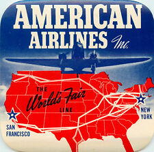 AMERICAN AIRLINES to the WORLD'S FAIR ~CA and NY~ Great Old Luggage Label, 1965