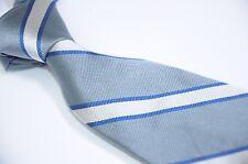 "Brooks Brothers Makers Blue White Repp Regimental Stripe Silk Men's Tie 3.5"""